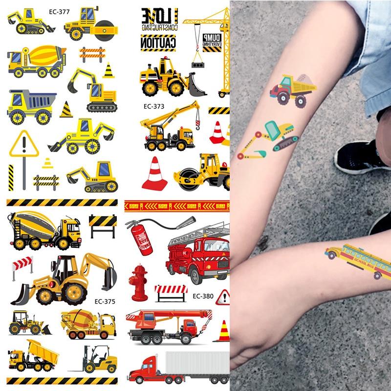 Мультяшная ферма тема строительная техника временная татуировка стикер «экскаватор» бульдозер погрузчик наклейки Мальчики День рождения ...
