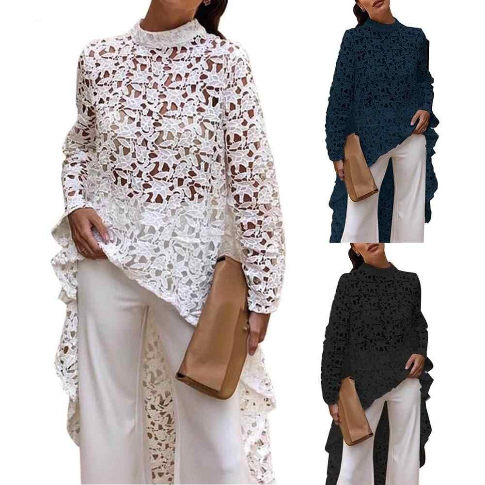 Women Tunic Long Shirt Blouses 2020 Vonda Sexy Long Sleeve Casual Leopard Print Blouse Office Asymmetrical Blusas Plus Size Top Blouses Shirts Aliexpress