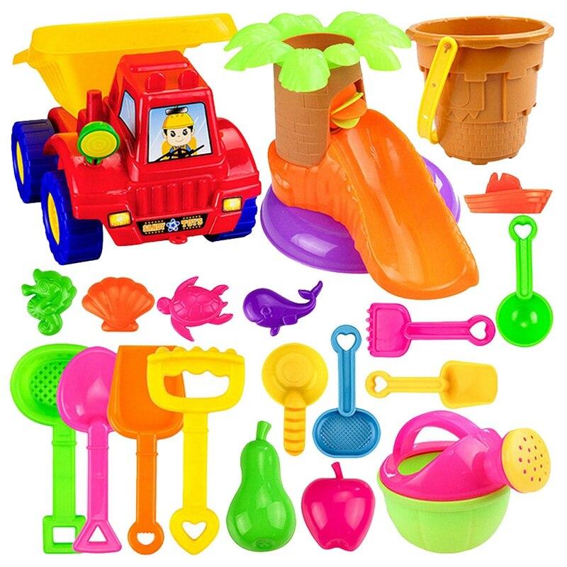 20 pçs engraçado crianças praia areia jogo de brinquedo conjunto pás castelo ancinho ampulheta balde crianças jogo de praia jogo de papel jogo de brinquedo kit