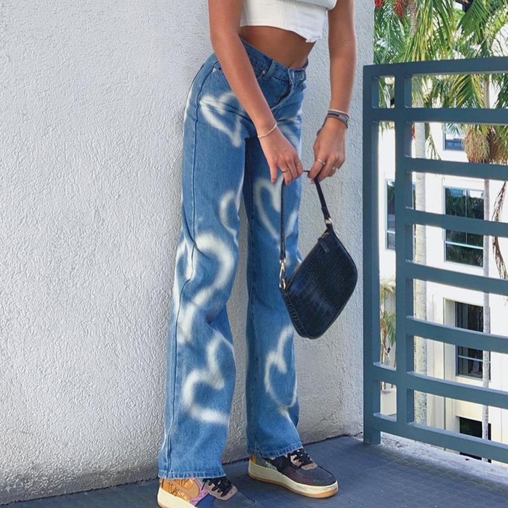 Vintage Heart Printed Y2K Baggy Jeans Women Fashion High Waist Harajuku Aesthetic Mom Jeans Denim Streetwear 90s Trousers