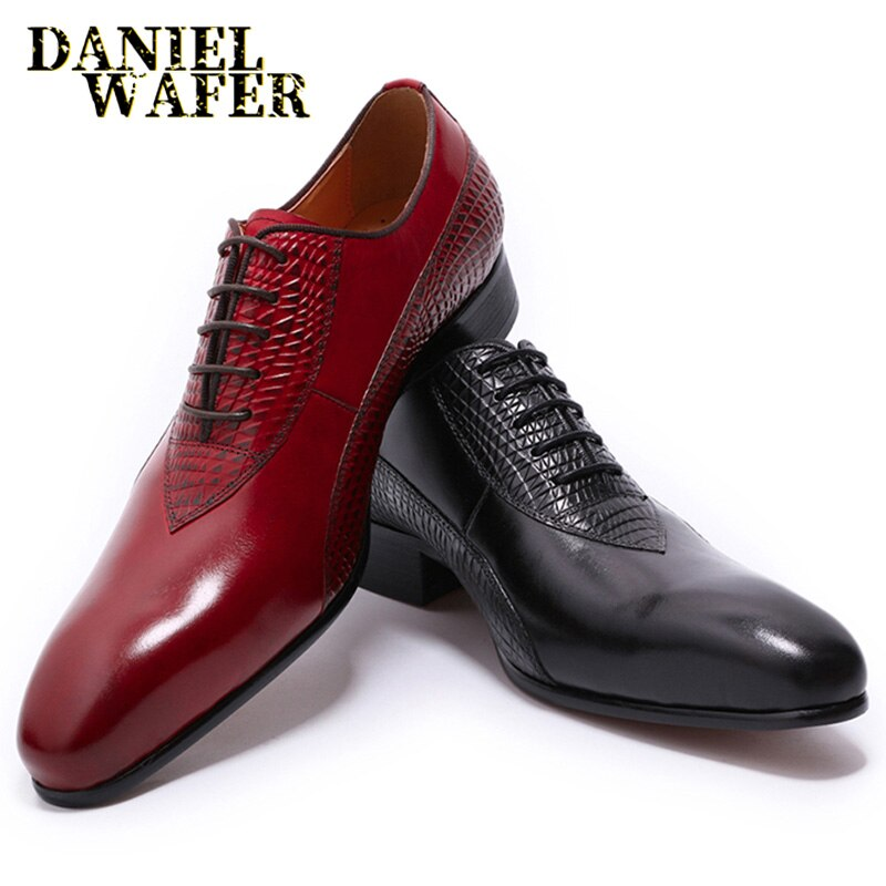 حذاء أكسفورد من الجلد الأصلي للرجال ، فاخر ، مصقول يدويًا ، برباط ، بمقدمة مدببة ، للزفاف ، المكتب ، الرسمي ، أسود وأحمر