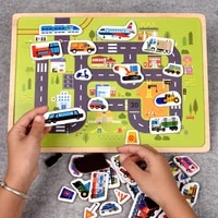 early education magnetic puzzle cognitive pairing beneficial intelligence magnetic animals transportation paste wooden toys