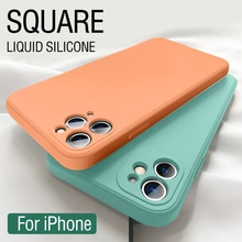 LOVECOM New Original Square Liquid Silicone Phone Case For iPhone 13 12 11 Pro Max XR XS Max 7 8 Plu