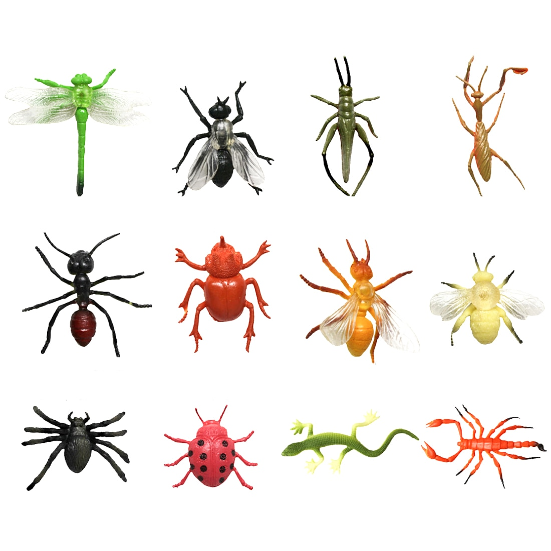 2 Types 12/24 pièces Simulation plastique abeille libellule araignée jouets insecte coccinelle criquet lézard modèles ensemble éducatif