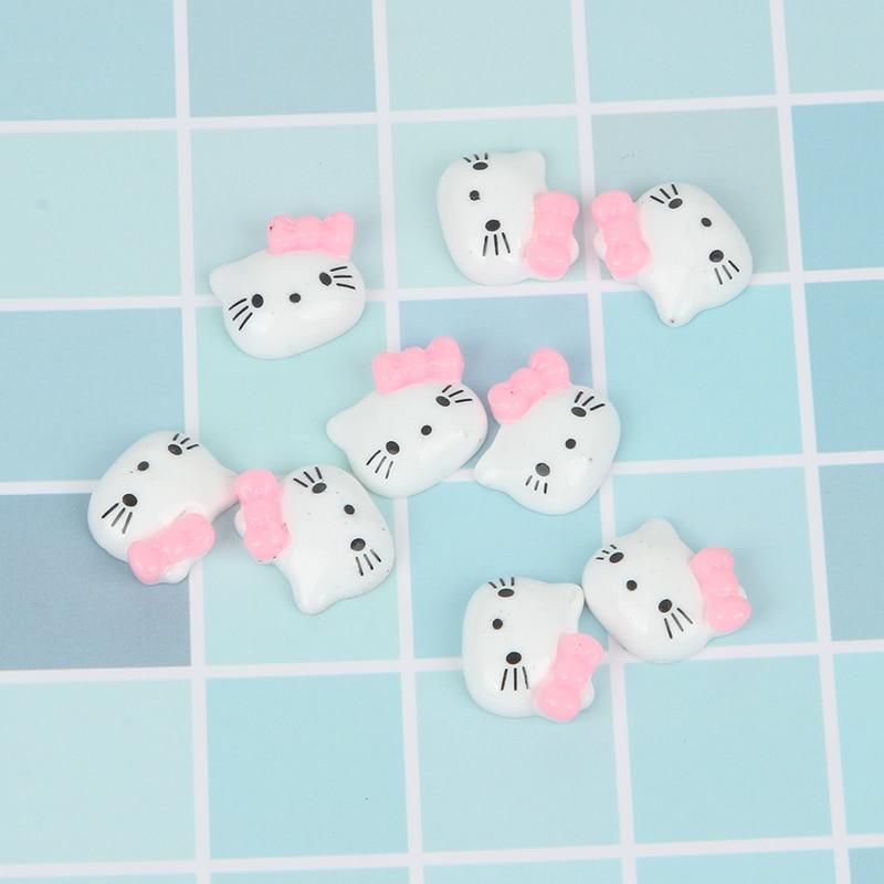 Decoración de gatos de resina LF 50 Uds., adornos de cabujón con reverso plano para Scrapbooking, accesorios Kawaii bonitos Diy