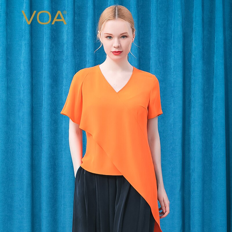 VOA 30m/m Heavy Mulberry Silk V-neck Short Sleeve Three-dimensional Decoration Asymmetric Stitching Fashion Joker T-shirt BE579