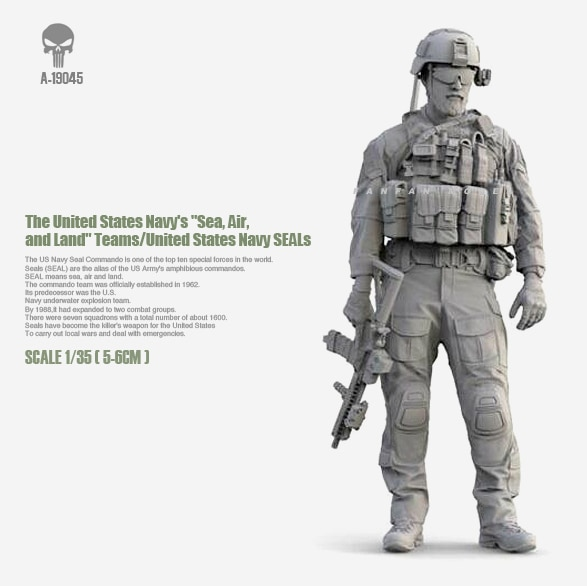 1/35 Kits de resina EE. UU. Marina sello asalto resina soldado ensamblado (50mm) A-19045
