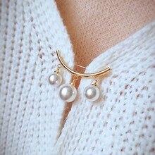 Verkauf 2019 Koreanische Silber Farbe Perle Perle Broschen Für Frauen Strickjacke Schal Anti Tragen Mädchen Emaille Geschenk Pin Festen Trägern f830