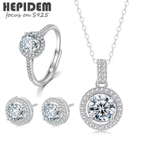 hepidem 100 1ct 6 5mm d moissanite 925 sterling silver necklace rings earrings jewelry sets women s925 gift 0873