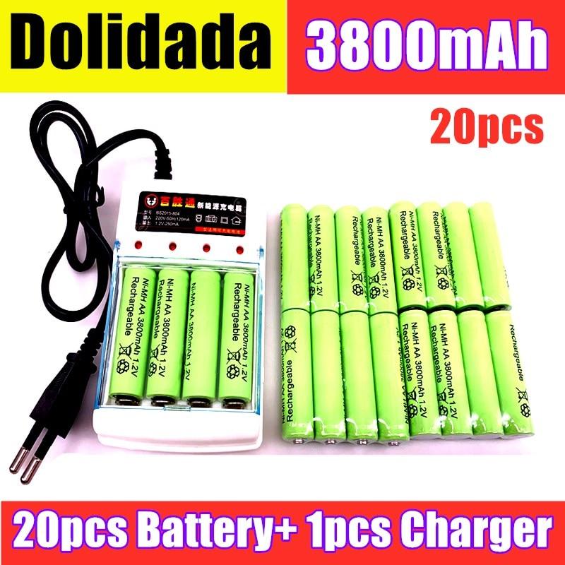 AA 2020 Neue AA batterie 3800 1,2 V Ni MH akku AA 3800mAh BTY NI-MH 1,2 V Wiederaufladbare batterie + Ladegerät