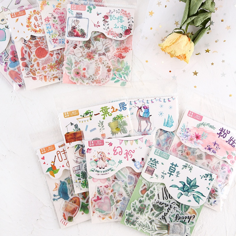 40 pcs Cute Cartoon Stickers Autumn Flower Plant for Planner DIY Scrapbooking Bullet Journal Stationery Girl Kids Gifts