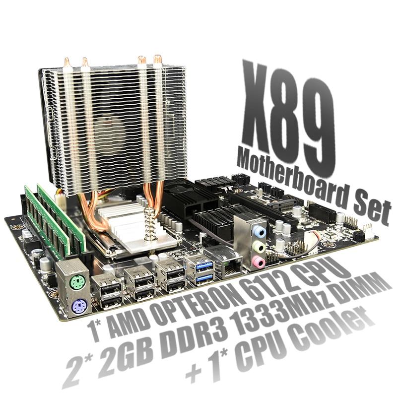 X89 conjunto Combo placa base AMD G34 hembra DDR3 memoria SATA II USB 3,0 con AMD Opteron 6172 + 2X 2GB DDR3 RAM de 1333MHz + ventilador de la CPU