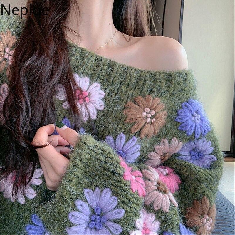 Neploe Puxar Femme Floral Bordado Pullover Camisola Das Mulheres 2020 Sexy Strapless Morcego Malha Top Verde Causal Solto Malhas 56658