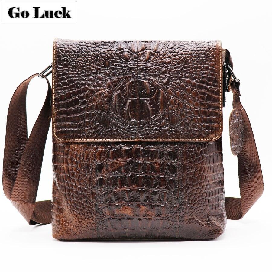 GO-LUCK Brand Alligator Genuine Leather Men's Messenger Bag Men Crossbody Shoulder Bags Casual&Business Zipper Pack For Ipad