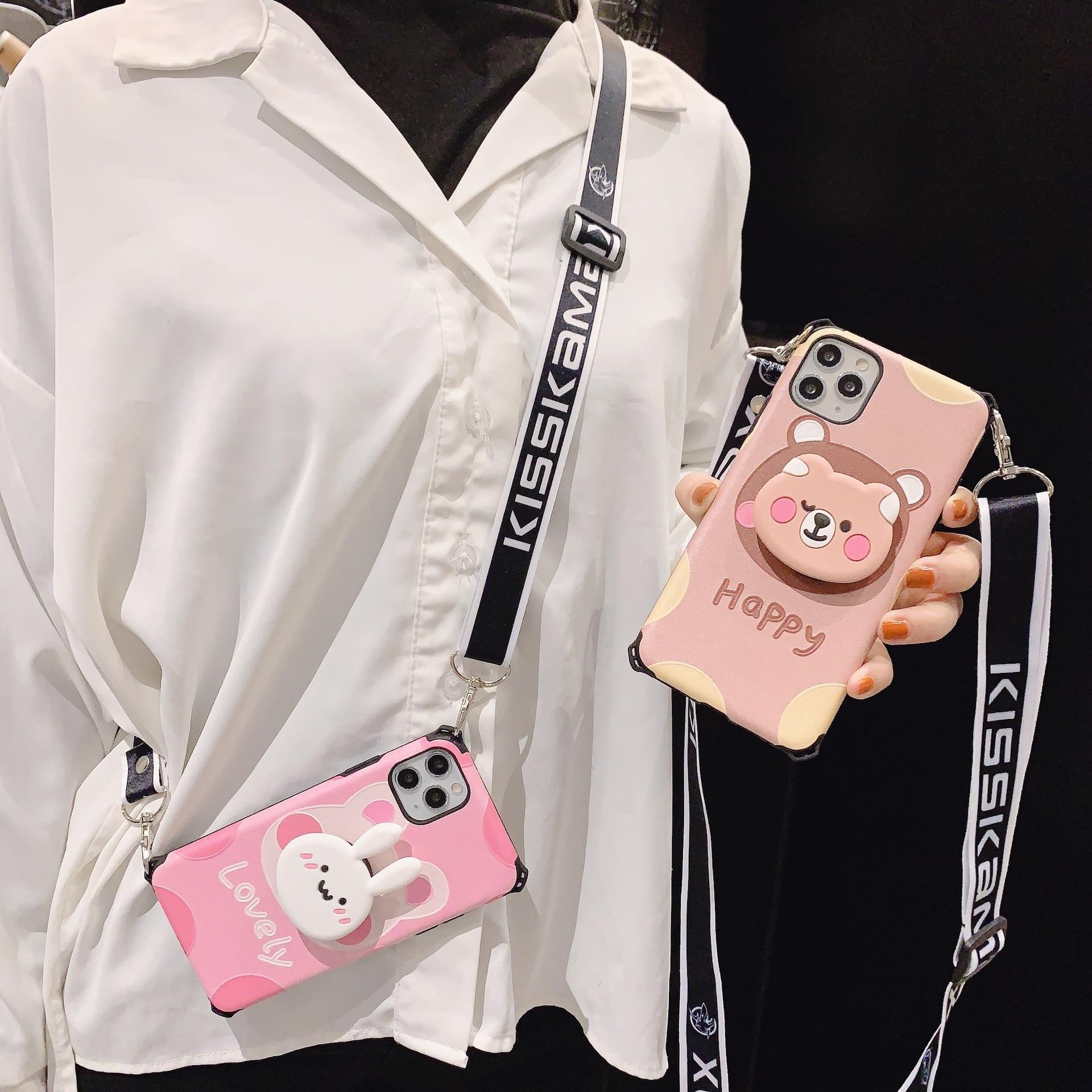 Quatro canto proteção colar caso telefone kickstand crossbody acessórios móveis para iphone 6 7 8 x xr 11