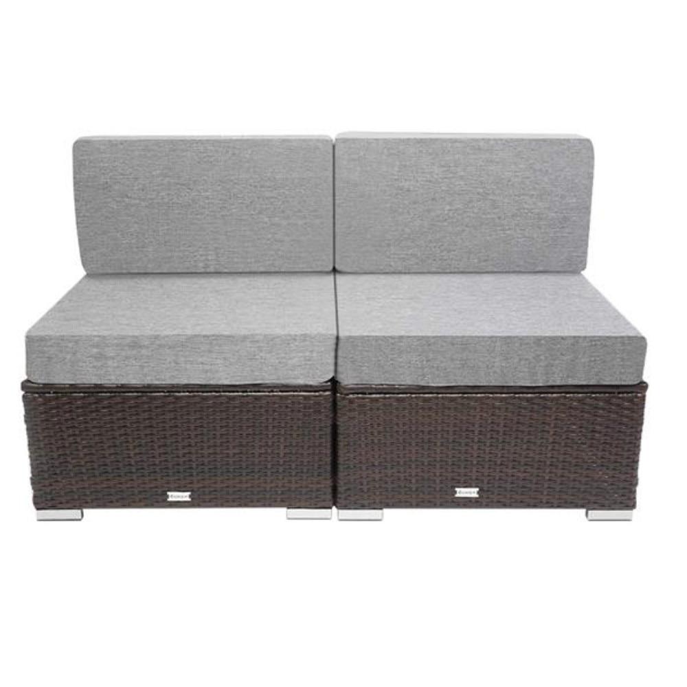 2 قطعة الباحة PE الخوص الروطان الأعزل أريكة البني