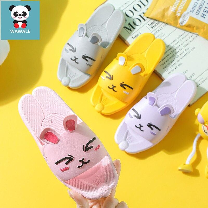 Familia Set de pantuflas zapatillas de conejo moda bebé niñas zapatos PVC casa calzado niños interior ducha-Wearings lindo conejo