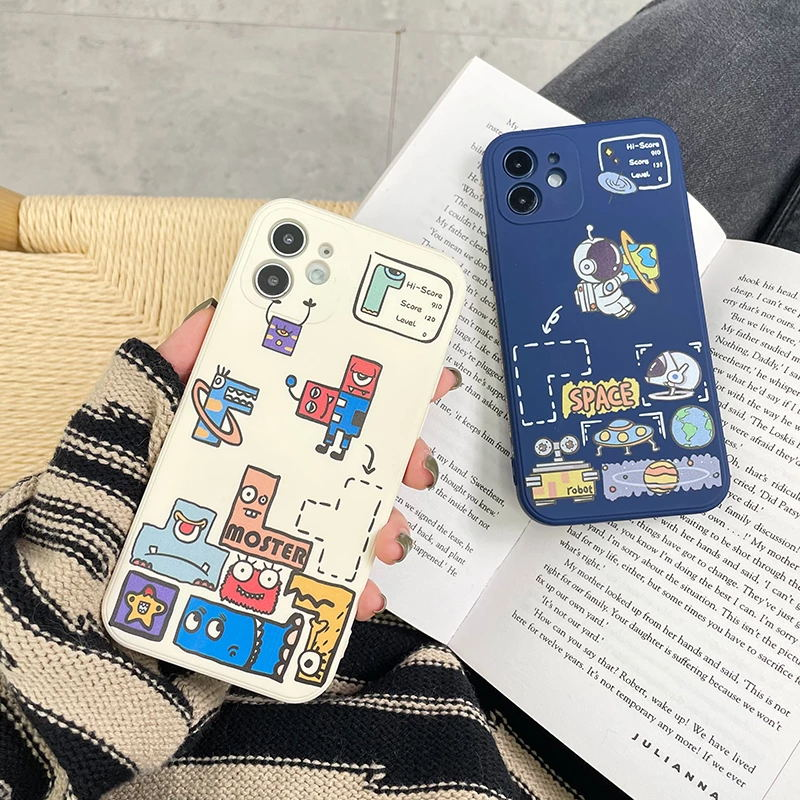 For iPhone 12 Pro MiNi Case Cute Cartoon Pictures TPU Phone Protection Cover For iPhone 11 12 X XS XR 8 7 Plus Pro Max Case