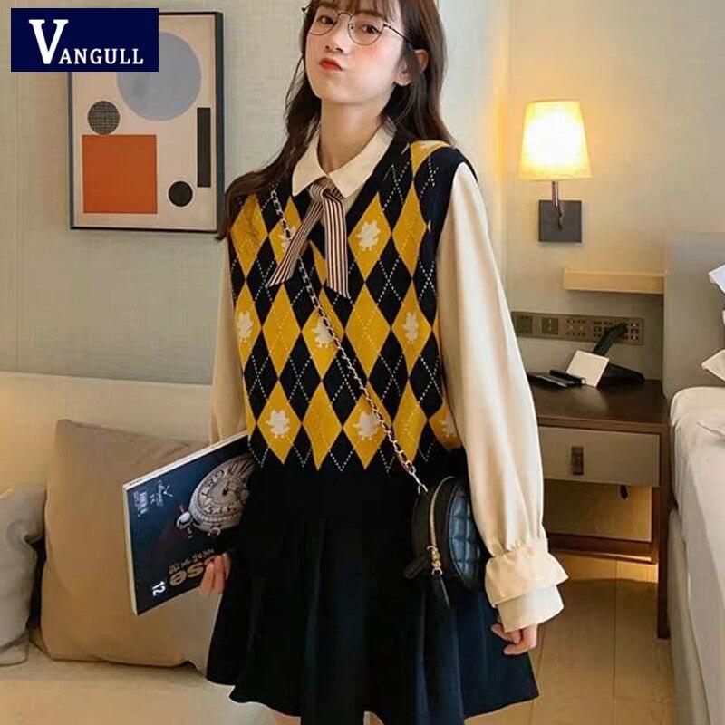 Vangull argyle xadrez camisola feminina colete com decote em v vintage malha pulôver colete novo estilo coreano macio solto sem mangas regatas