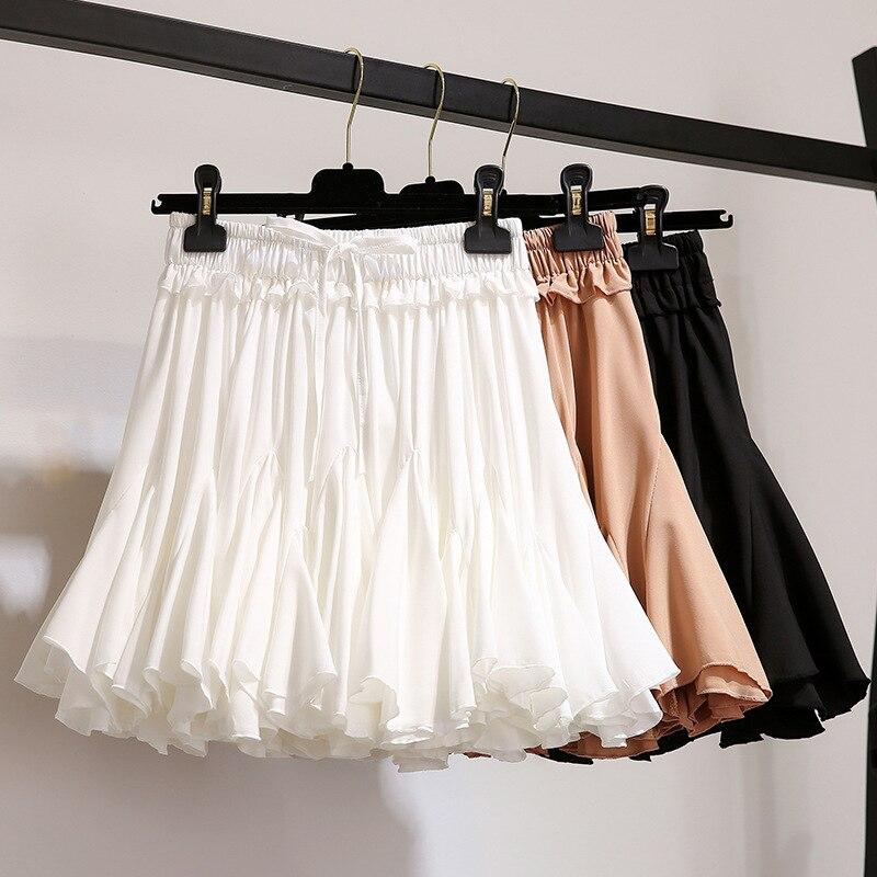 أبيض أسود الشيفون الصيف السراويل تنورة المرأة 2021 موضة الكورية عالية الخصر توتو مطوي تنورة جمالية صغيرة الإناث