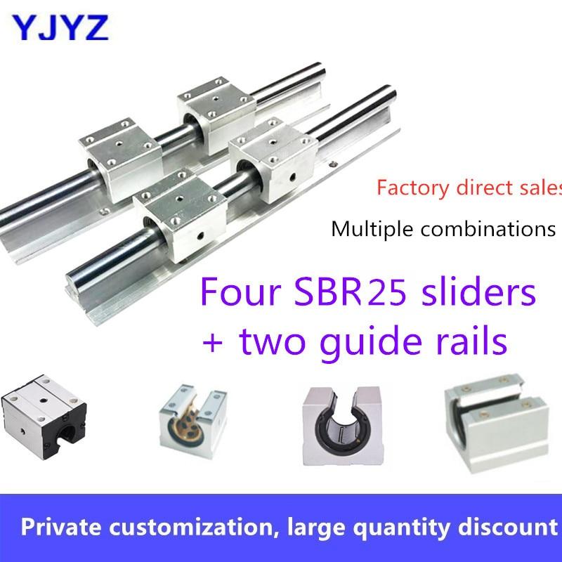 Ventes directes dusine de haute qualité quatre curseurs SBR20 + deux axes optiques de guidage sbr20linéaire (1200 ~ 2600mm) options multiples