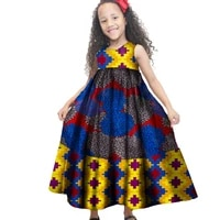 summer african children baby girls long dresses traditional african print bazin riche sleeveless party dress kids clothes wyt48