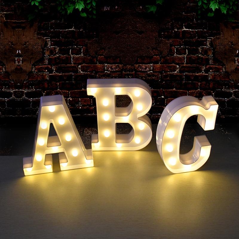 DIY светодиодный ночник с цифрами букв, 3D Настенный декор для свадьбы, дня рождения, алфавита, знак символа без батареи