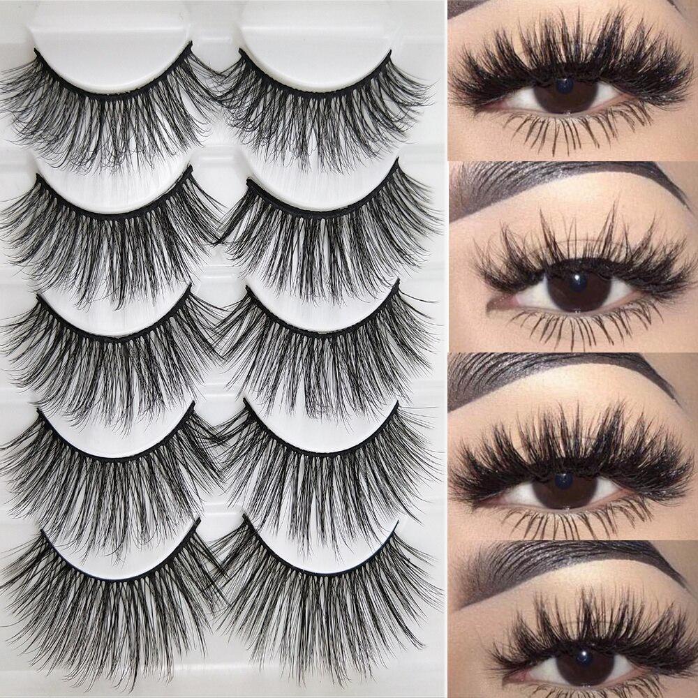 5 pairs natural false eyelashes fake lashes long makeup 3d mink lashes eyelash extension mink eyelashes for beauty недорого