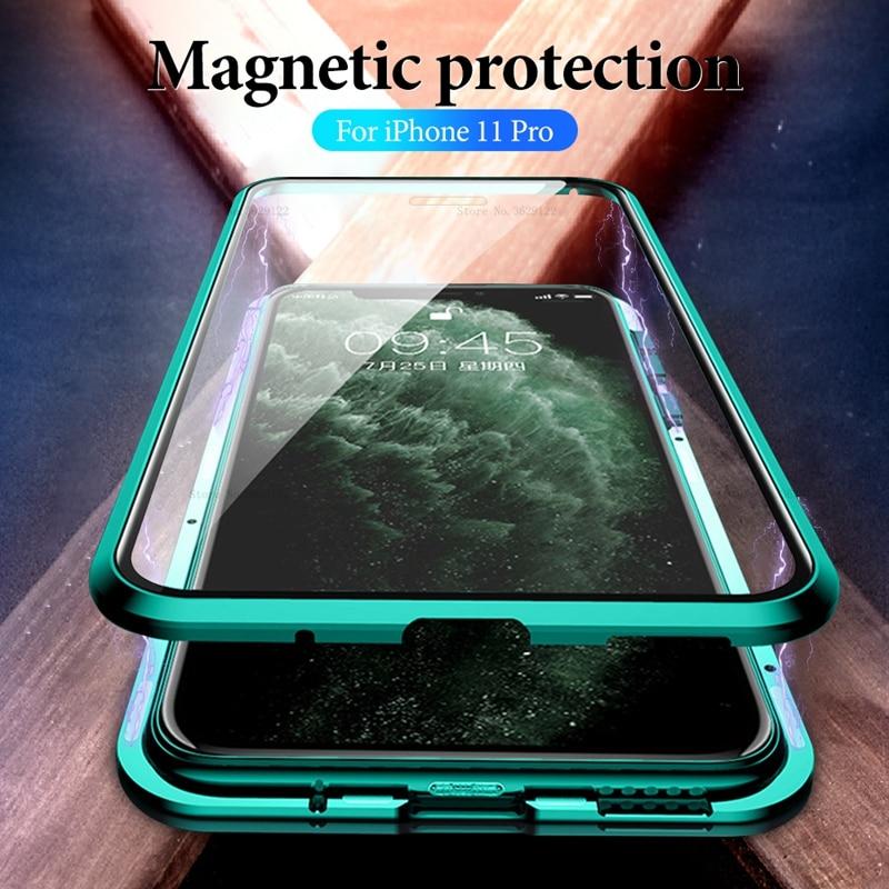 Funda de adsorción magnética de Metal para iPhone 11 funda de vidrio templado trasera para iPhone 11 Pro Max 2019 nuevas fundas funda de parachoques