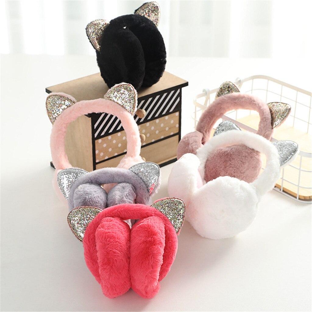 Nuevas orejeras bonitas para mujer, diseño de gatos, a prueba de viento, cálidas y ajustables, auriculares de piel de felpa, moda de invierno, funda informal para las orejas # Q