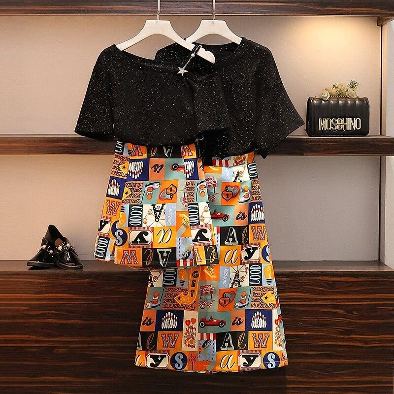 Plus size 4xl summer skirt set 2 piece set women t-shirt big size two piece outfits sreeetwear casual 2 piece sets sweet suit