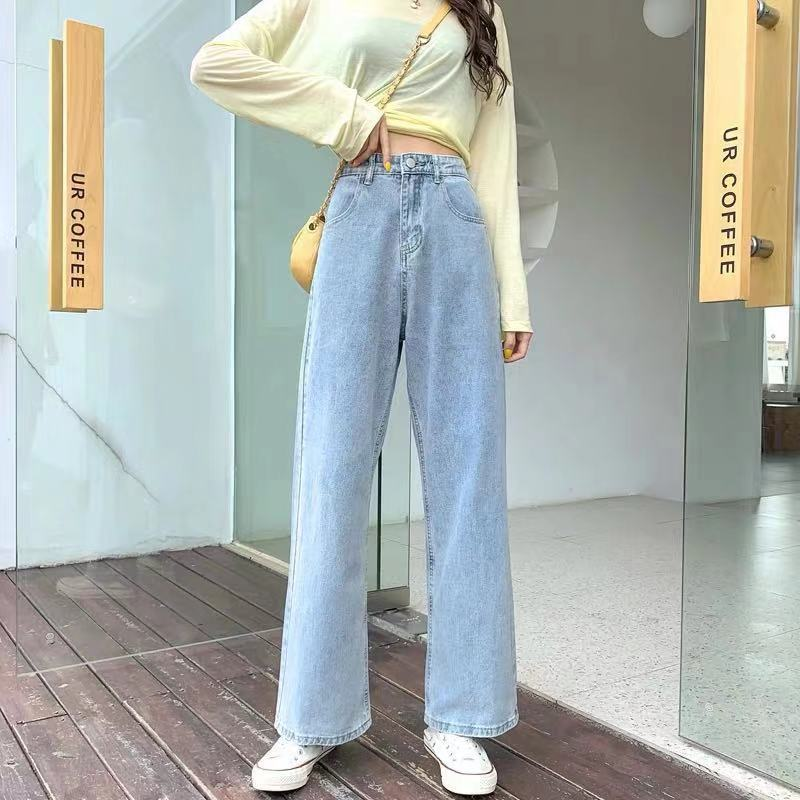 2021 Women High Waist Casual Denim Pants New Korean Style Wide Leg Mom Pant Loose Buttons Straight Jeans Light Blue Woman Jeans