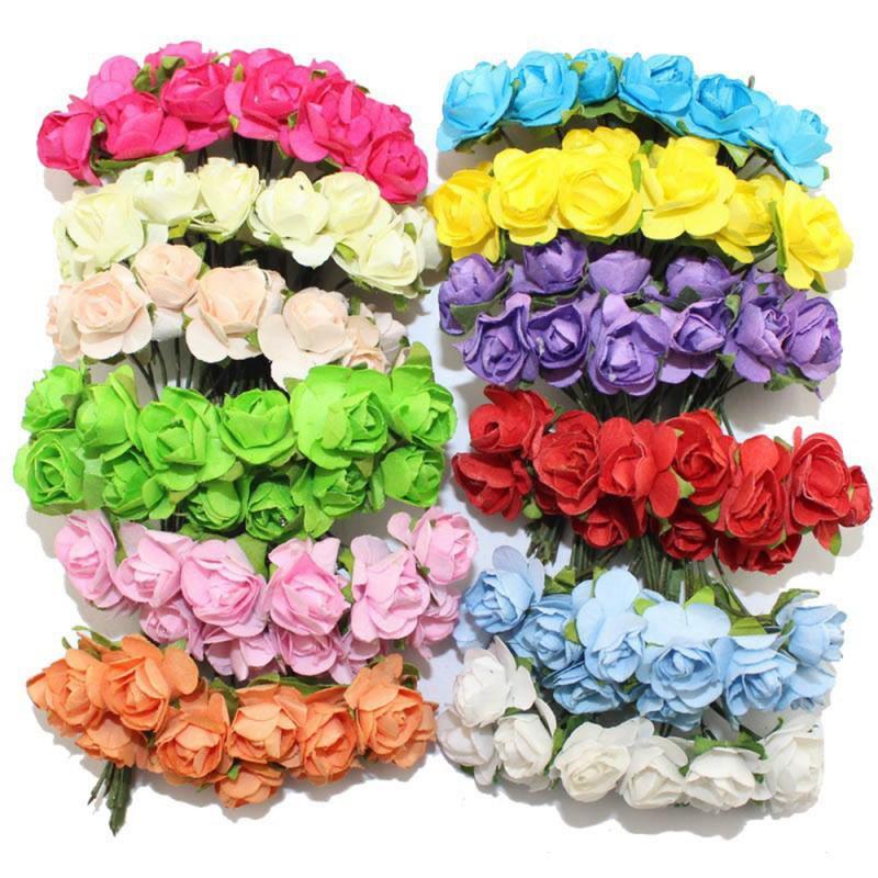 144PCS Papier Rose Künstliche Blume Handmade Für Hochzeit Auto Dekoration DIY Kranz Geschenk Scrapbooking Handwerk Gefälschte Flowe