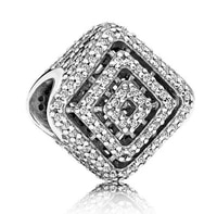 genuine 925 sterling silver charm openwork shimmering geometric lines with crystal bead fit pan bracelet necklace jewelry