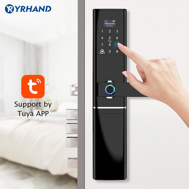 قفل باب بيومتري ذكي ، wi-fi ، بصمة الإصبع ، مقاوم للماء ، مع تطبيق Tuya