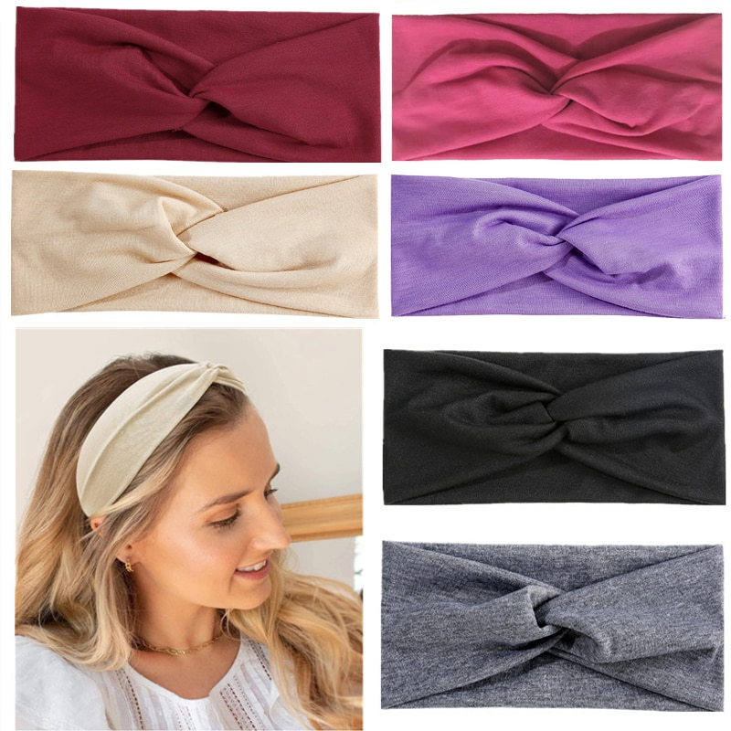 18 Colors Solid Headband for Women Hair Accessories Girls Cross Sport Hair Band Knit Elastic Head Bands 2021 New