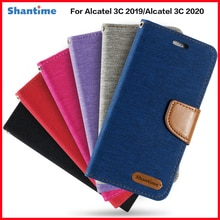 PU Leather Flip Case For Alcatel 3C 2019 Business Case For Alcatel 3C 2020 Card Holder Silicone Phot
