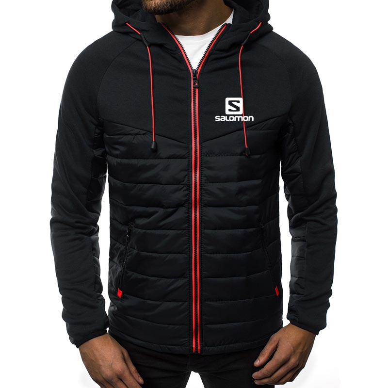 S printing Winter Jacket Men Lightweight Hooded Zipper Coat Windproof Warm Solid Color Fashion Male