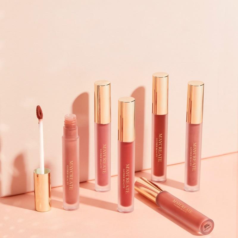 6 цветов матовый блеск для губ блеск Жидкая губная помада набор питательная liptint долговечная красная роза брендовая Косметика для макияжа