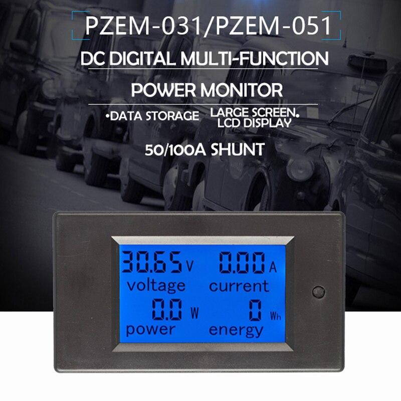 Amperímetro multifunction 6.5-100v 100a 4 in1 do voltímetro de digitas do medidor de tensão da corrente da bateria da c.c.
