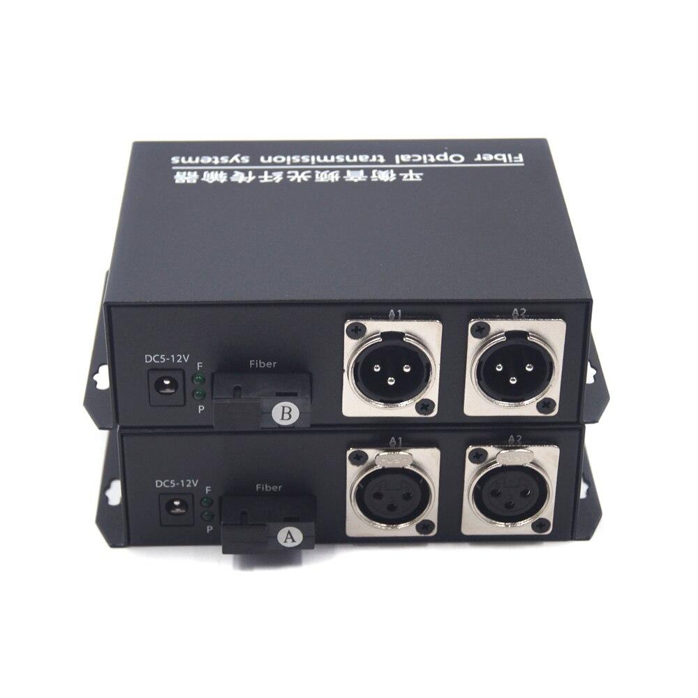 موسعات محول وسائط الألياف البصرية متوازنة الصوت 2 قنوات ، XLR صوت متوازن على جهاز إرسال واستقبال الألياف البصرية