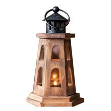 Wedding Party Wooden Candlestick Romantic Nautical Lighthouse Retro Nostalgic Dark Desktop Home Decor Candle Holder Coffee Shop