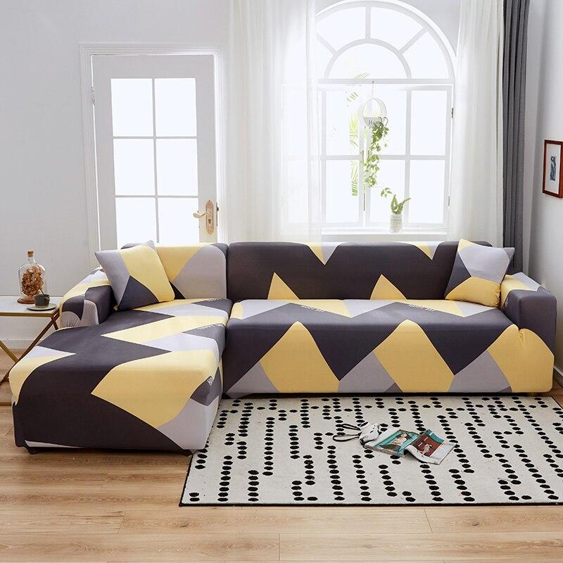 منقوشة الأريكة صالون أغطية هندسية من أريكة 2 و 3 مقاعد L شكل زاوية الزاوية غطاء أريكة حالة ديكور تشيس صالة الحق