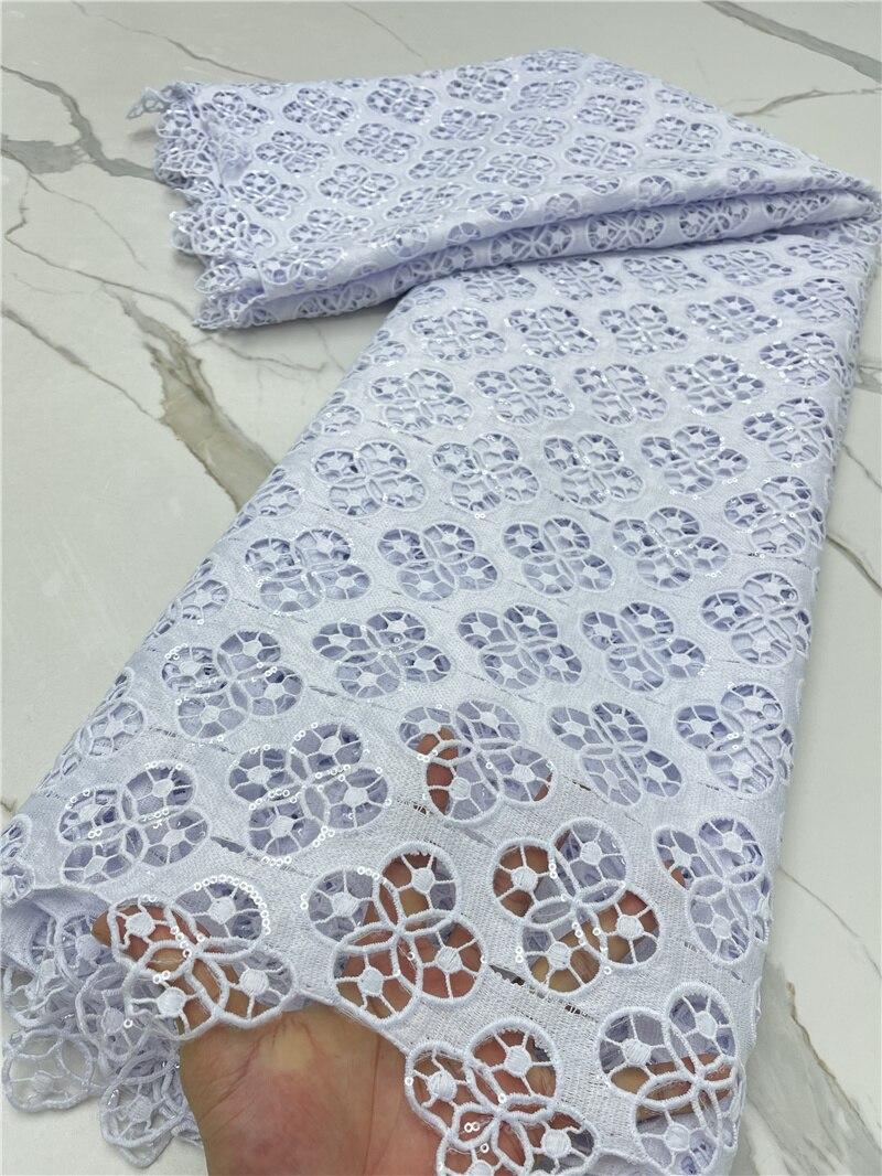 PGC نقية الأبيض الفرنسية الترتر الحبل نسيج الدانتيل المطرز النيجيري أقمشة الدانتيل 5 ياردة الأفريقي أقمشة الدانتيل لفستان YA4273B-2