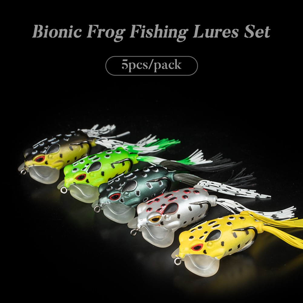 5/Pack Fishing Lure Set Soft Plastic Frog Lures Topwater Bionic Swaim Bait for Bass Salmon Freshwater Saltwater
