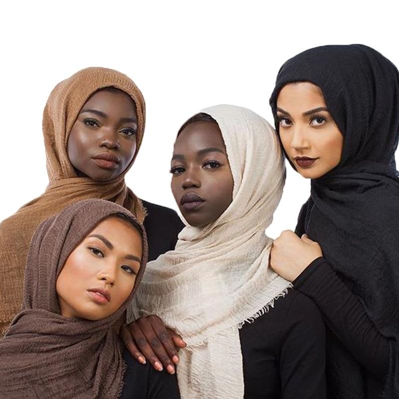 2020 Muslim Women Crinkle Hijab Scarf Soft Solid Cotton Head ScarvesTurban Shawls and Wraps hijab fe