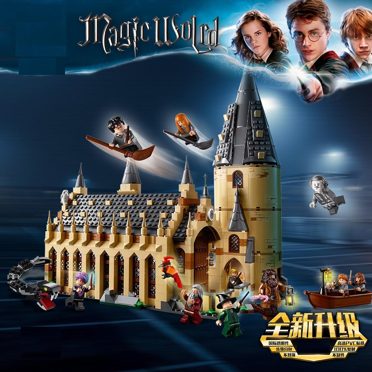 Castillo de Hogwarts Legoeds babylys Potterly bloques de construcción tren exprés Quidditch creador de ciudades figuras de acción de juguete para niños