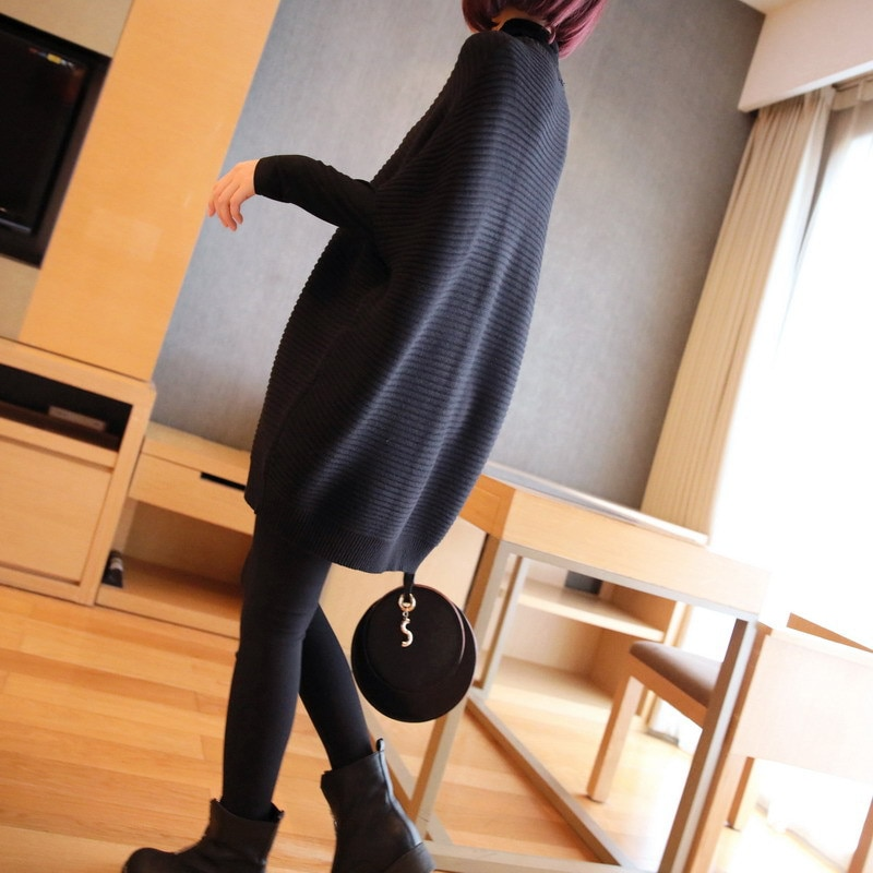 Pregnant Women Sweater Medium Length Thickened Pullover Wool Dress Loose Knit Oversized Dress Maternity Sweater Dress enlarge