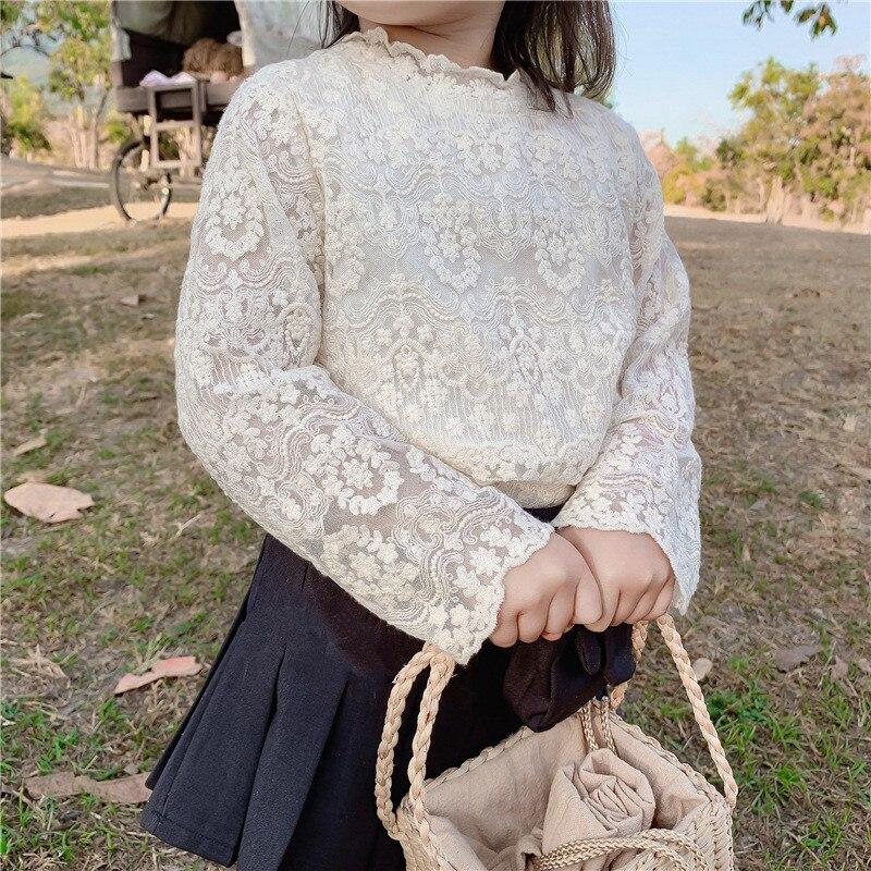 2020 primavera nueva bebé de estilo coreano encaje bordado Floral blusas ropa lindo tops de princesa niños camisas de los niños