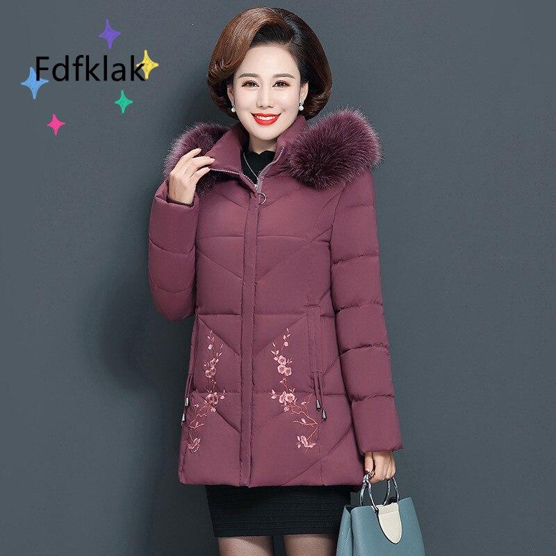 Зимнее пальто Fdfklak, женская одежда, парка оверсайз с капюшоном, осенняя теплая куртка с цветочным рисунком, женская зеленая блузка